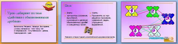 Слайды презентации: Действия с обыкновенными дробями