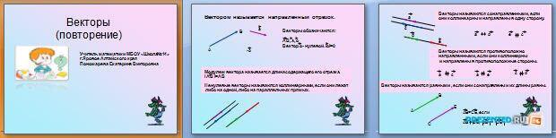 Слайды презентации: Векторы