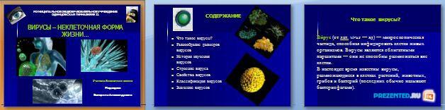 Слайды презентации: Вирусы - неклеточная форма жизни