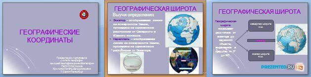 Слайды презентации: Географические координаты