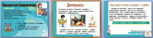 Слайды презентации: Человек и его деятельность