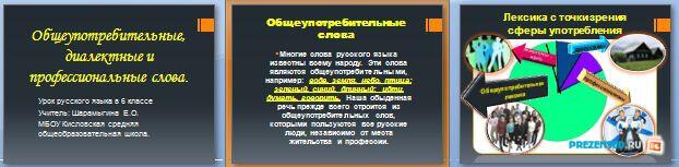 Слайды презентации: Общеупотребительные, диалектные и профессиональные слова