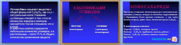 Слайды презентации: Классификация углеводов