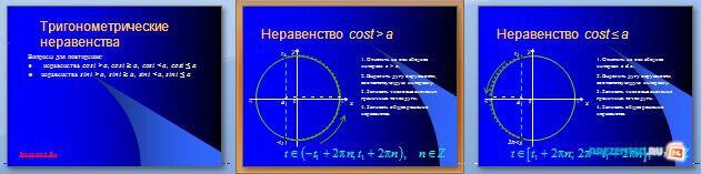 Слайды презентации: Тригонометрические неравенства