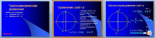 Слайды презентации: Тригонометрические уравнения