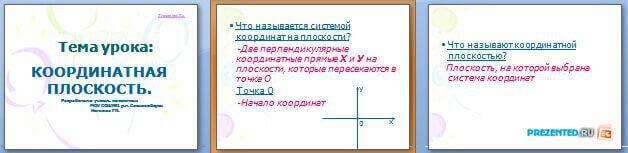 Слайды презентации: Координатная плоскость