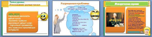 Слайды презентации: Умножение целых чисел