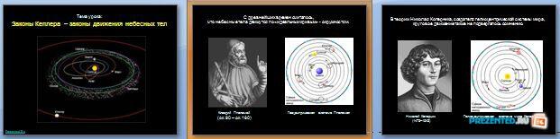 Слайды презентации: Законы Кеплера – законы движения небесных тел