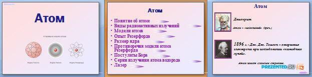 Слайды презентации: Атом