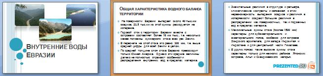 Слайды презентации: Внутренние воды Евразии
