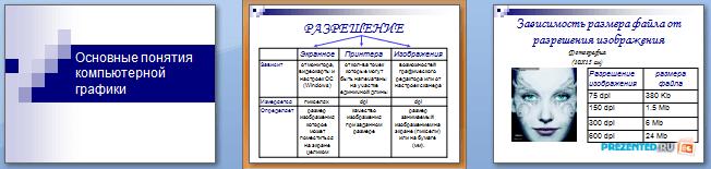 Слайды презентации: Основные понятия компьютерной графики