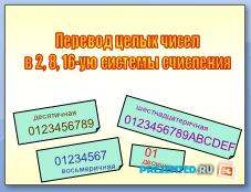 Перевод целых чисел в 2, 8, 16-ую системы счисления