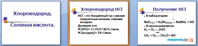 Слайды презентации: Хлороводород. Соляная кислота