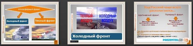 Слайды презентации: Атмосферные фронты - циклоны и антициклоны