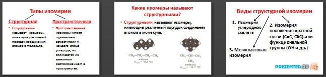 Слайды презентации: Типы изомерии