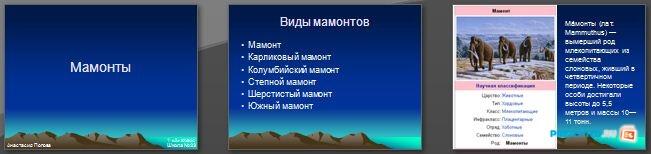 Слайды презентации: Мамонты