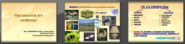 Слайды презентации: Организм и его свойства