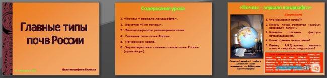 Слайды презентации: Главные типы почв России