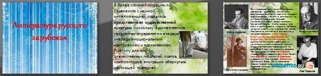 Слайды презентации: Литература русского зарубежья