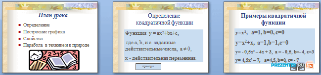 Слайды презентации: Квадратичная функция