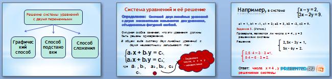 Слайды презентации: Системы линейных уравнений с двумя переменными