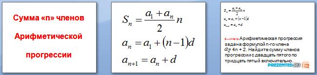 Слайды презентации: Сумма «n» членов арифметической прогрессии