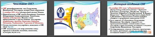 Слайды презентации: Содружество Независимых Государств