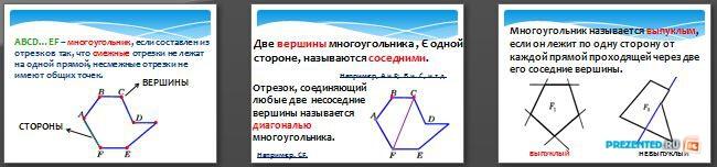 Слайды презентации: Выпуклый многоугольник. Четырехугольник