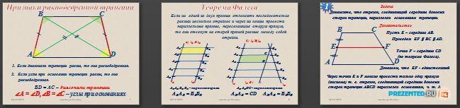 Слайды презентации: Трапеция, её виды и теорема Фалеса