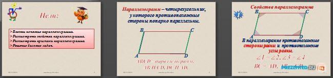 Слайды презентации: Что такое параллелограмм