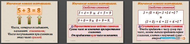 Слайды презентации: Сложение натуральных чисел и его свойства