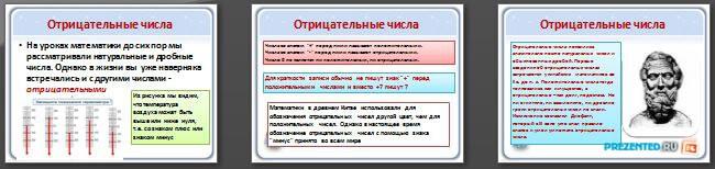 Слайды презентации: Положительные и отрицательные числа