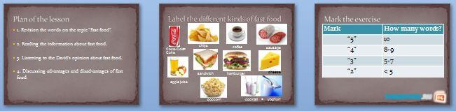 Слайды презентации: Быстрое питание (Fast Food - Pros and Cons)