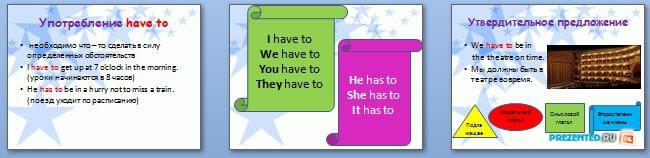 Слайды презентации: Модальные глаголы have to - must