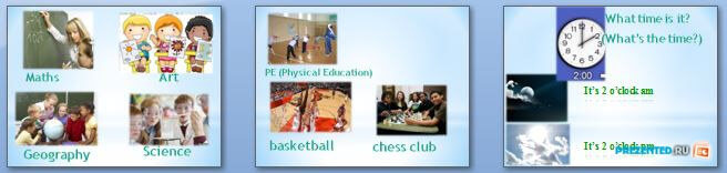 Слайды презентации: Моё школьное расписание (My school timetable)