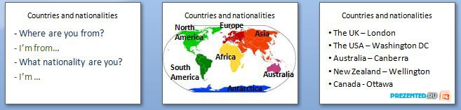 Слайды презентации: Страны и национальности (Countries and nationalities)