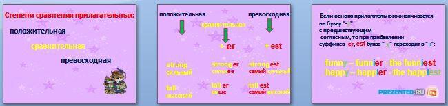 Слайды презентации: Степени сравнения прилагательных