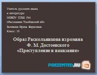 Ф.М. Достоевский - Преступление и наказание. Образ Раскольникова