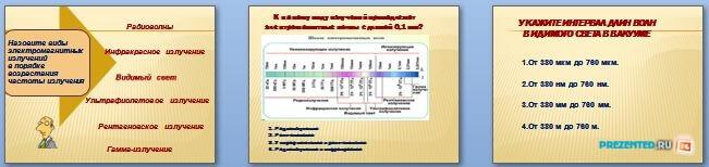 Слайды презентации: Спектр электромагнитных волн