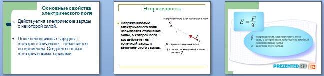 Слайды презентации: Электрическое поле и его напряжённость