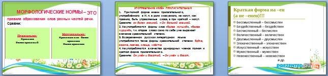 Слайды презентации: Употребление грамматических форм имен прилагательных, имён числительных, местоимений
